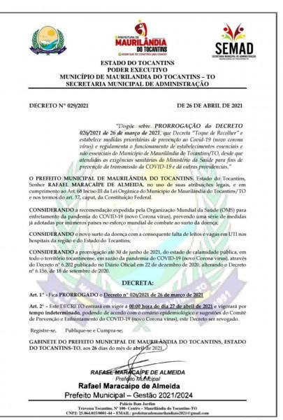 Prorrogação do Decreto Municipal contra a Covid-19