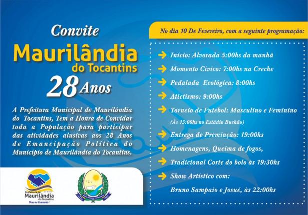 Convite 28 Anos Maurilândia do Tocantins