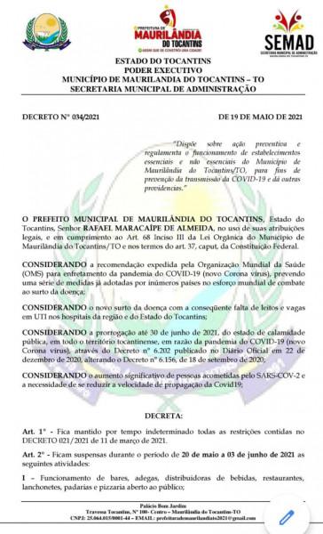Novo Decreto Municipal contra a Covid-19